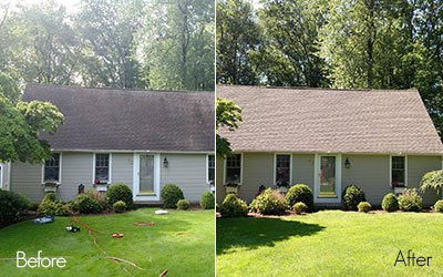 house before and after washing