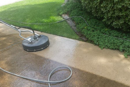 concrete being cleaned